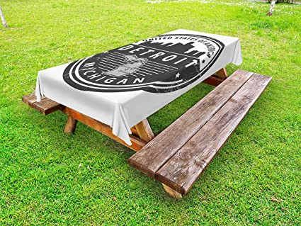 Amazoncom Ambesonne Detroit Outdoor Tablecloth Damaged Old Stamp - Picnic table michigan
