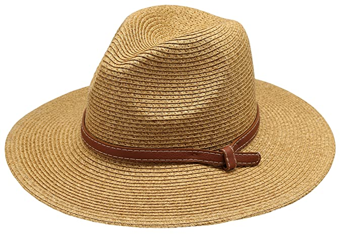 cb3a9642d94 Women s Braid Straw Wide Brim Classic Fedora Sun Hat UPF 50+ with  Adjustable Drawstring (