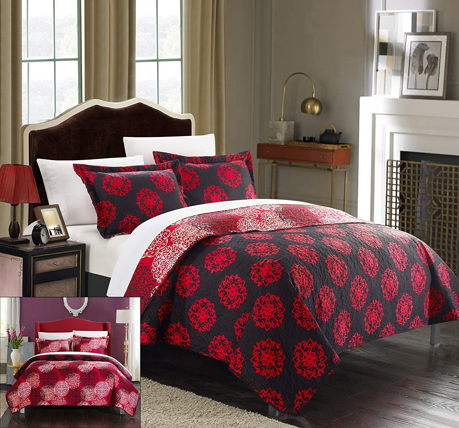 Chic Home 3 Piece Kelsie Boho Inspired Reversible Print Quilt Set, Queen, Red