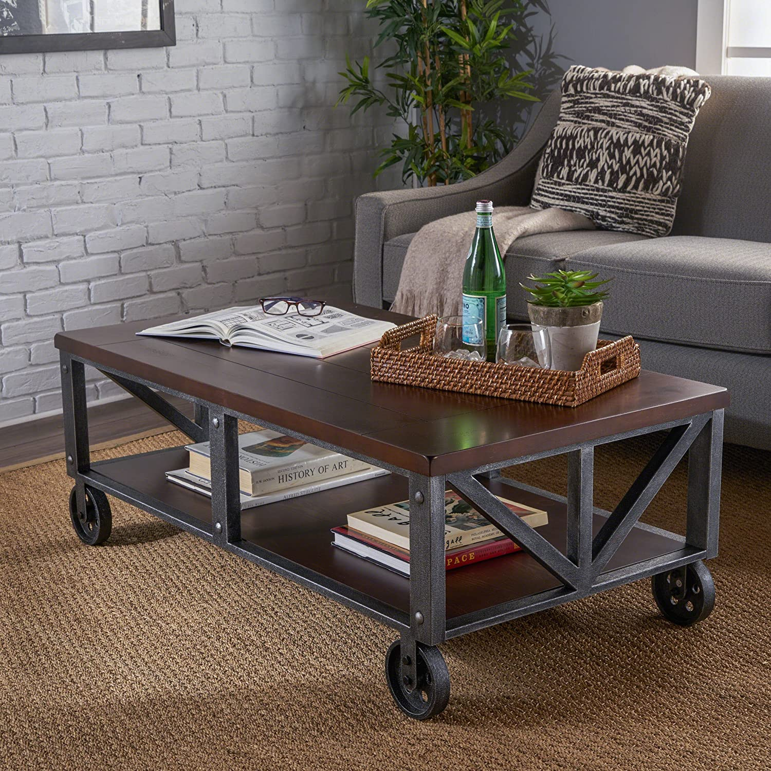 sneakers for cheap f46de b6a38 Christopher Knight Home 303276 Dree Industrial Faux Coffee Table, Rustic  Wood/Antique Black