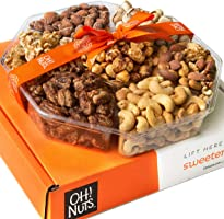 Oh! Nuts Holiday Gift Basket, Roasted Nut Variety Fresh Assortment Tray, Christmas Gourmet Food Prime Thanksgiving...