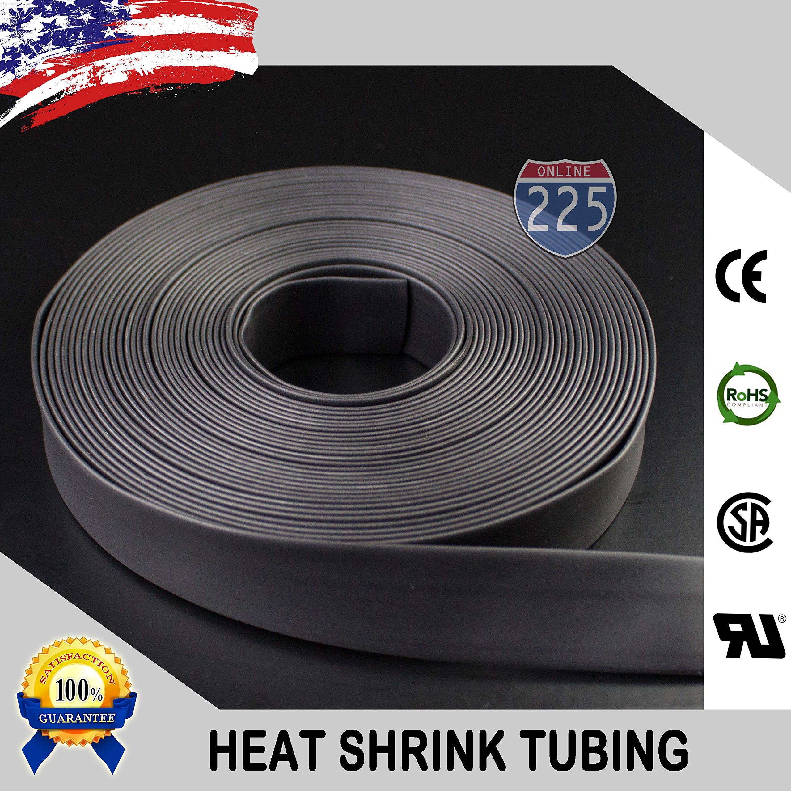 200 FT 5/8'' 16mm Polyolefin Black Heat Shrink Tubing 2:1 Ratio