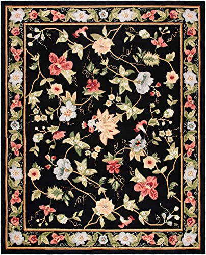 Safavieh Chelsea Collection HK311A Hand-Hooked Black Premium Wool Area Rug 7 9 x 9 9