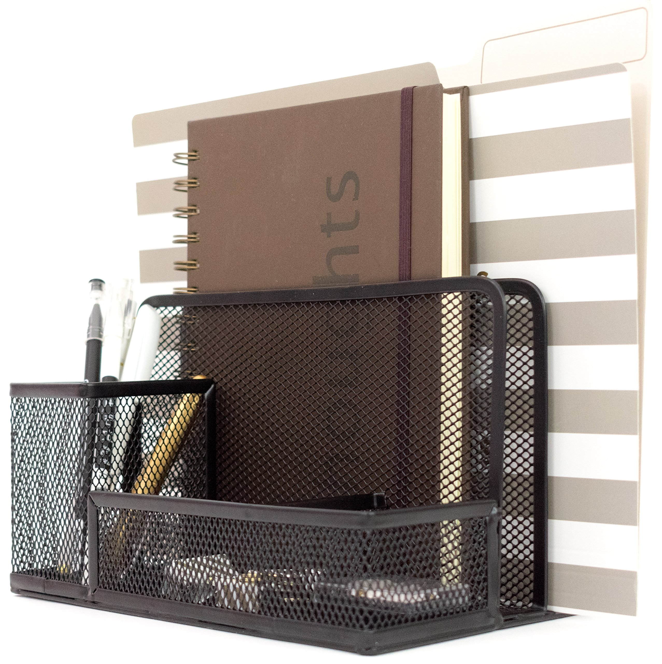 Blu Monaco Office Supplies Desk Organizers and Accessories - Medium Black Wire Mesh 2 Tier Vertical File Holder with Pen Cup and Accessory Tray Compartments