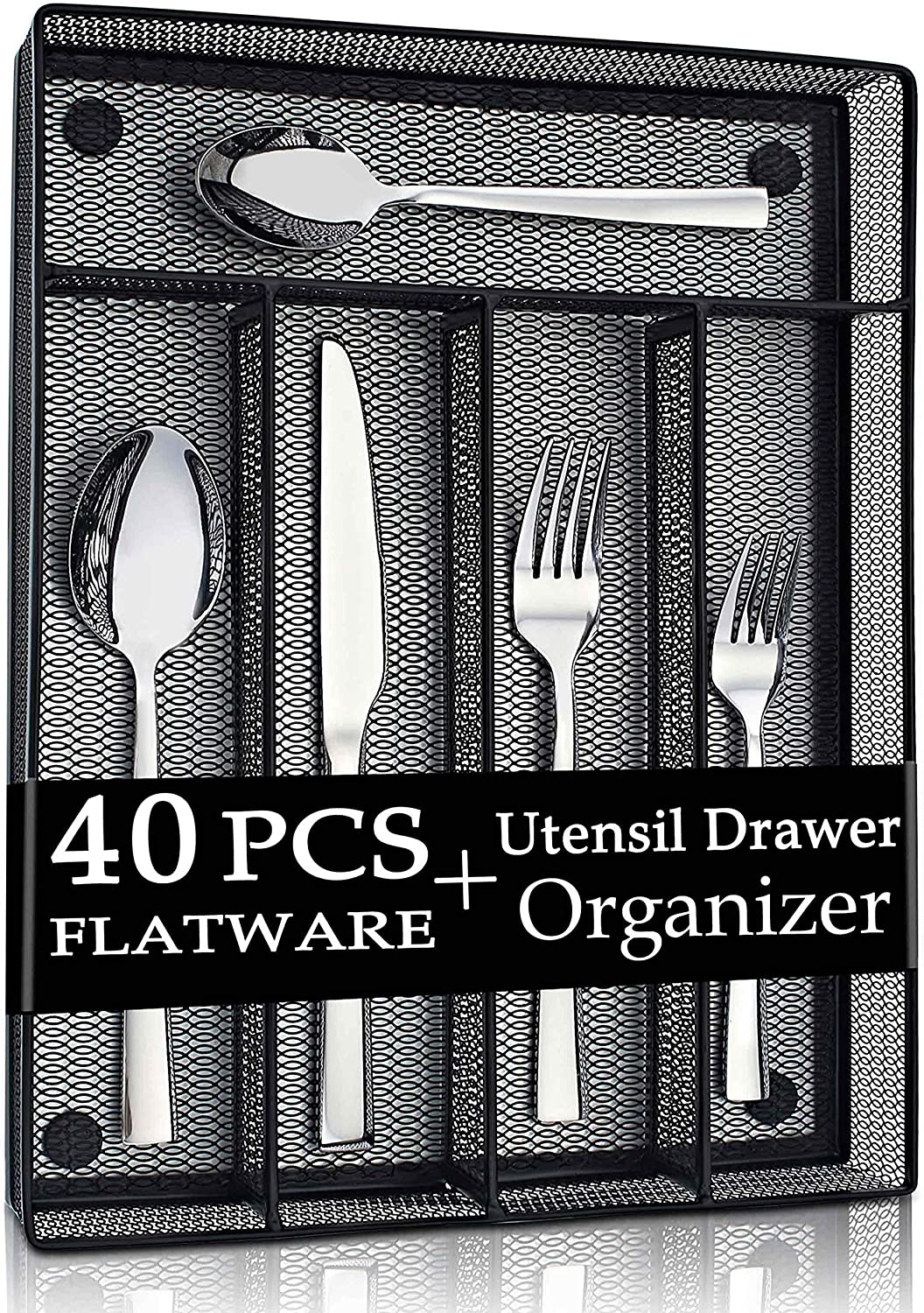 LIANYU 40-Piece Silverware Set with Drawer Organizer, Stainless Steel Square Flatware Cutlery Set for 8, Kitchen Party Restaurant Eating Utensils Tableware, Mirror Polished, Dishwasher Safe