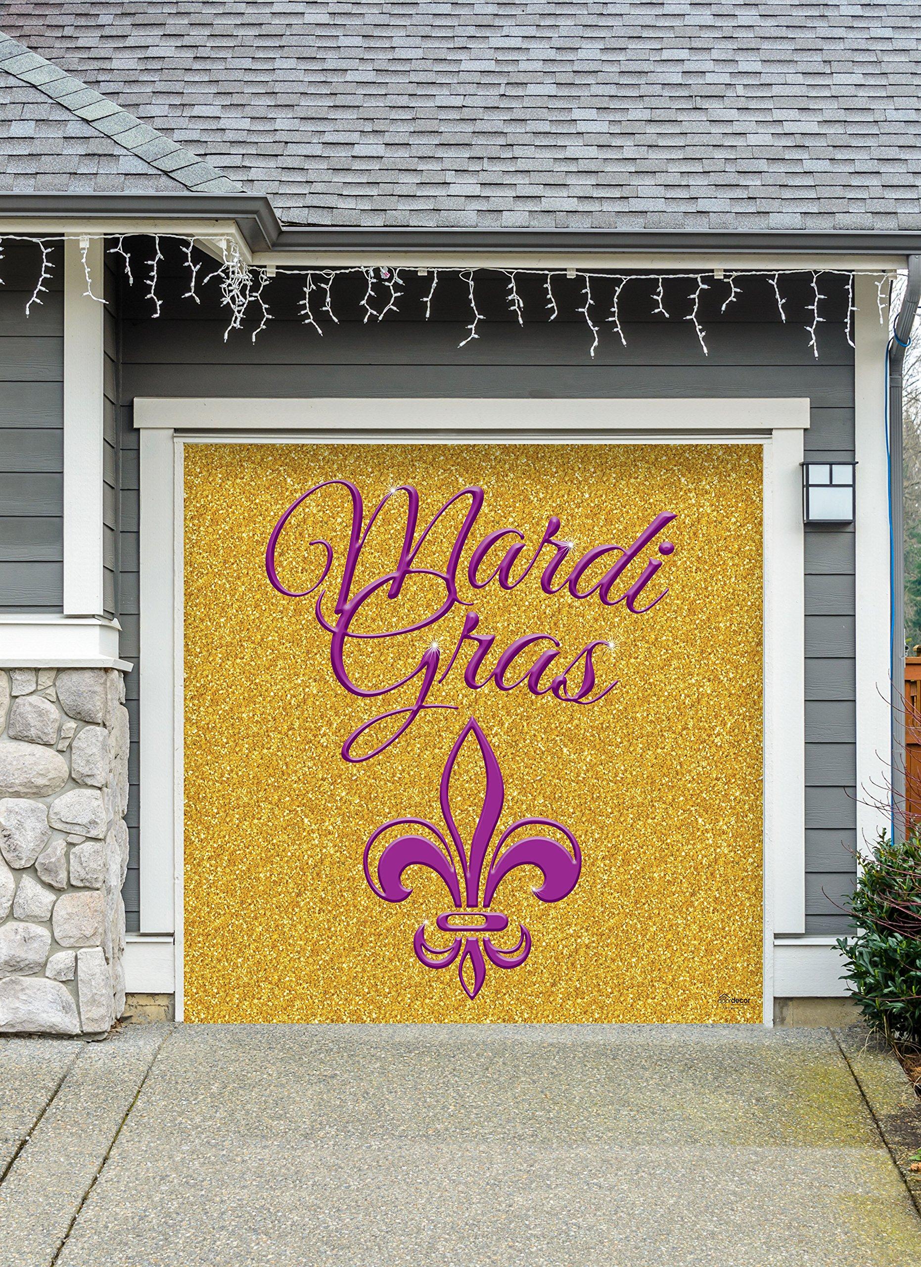 Outdoor Mardi Gras Decorations Garage Door Banner Cover Mural Décoration 8'x8' - Mardi Gras Gold Glitter- ''The Original Mardi Gras Supplies Holiday Garage Door Banner Decor'' by Victory Corps