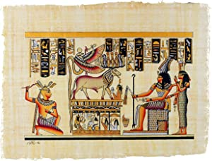 "Leolana Egyptian Papyrus ""Khnum & Uraeus"" Hand Painted Painting on 100% Authentic Egyptian Papyrus Paper-9x13-Black & Gold"