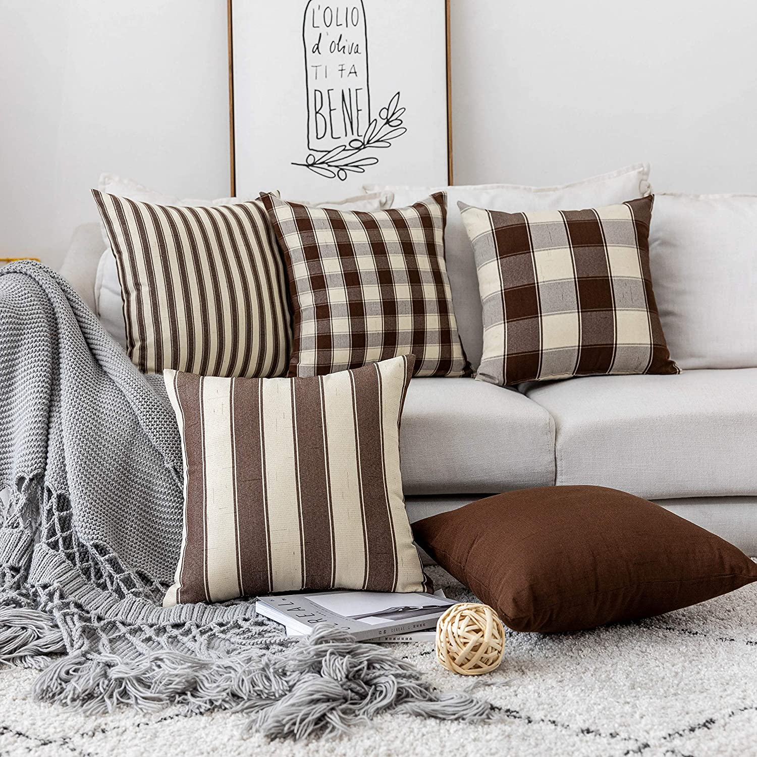 Home Brilliant Fall Winter Decor Throw Pillow Covers Set Solid Decorative Pillowcases Farrmhouse Linen Cushion Covers for Couch Bed, 5 Pieces, Cocoa Brown and Cream, 18x18 inches (45cm)