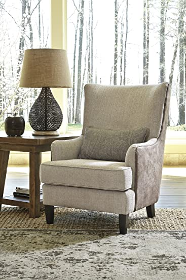 Baxley Casual Tan Fabric Wingback Accent Chair With Lumbar Pillow