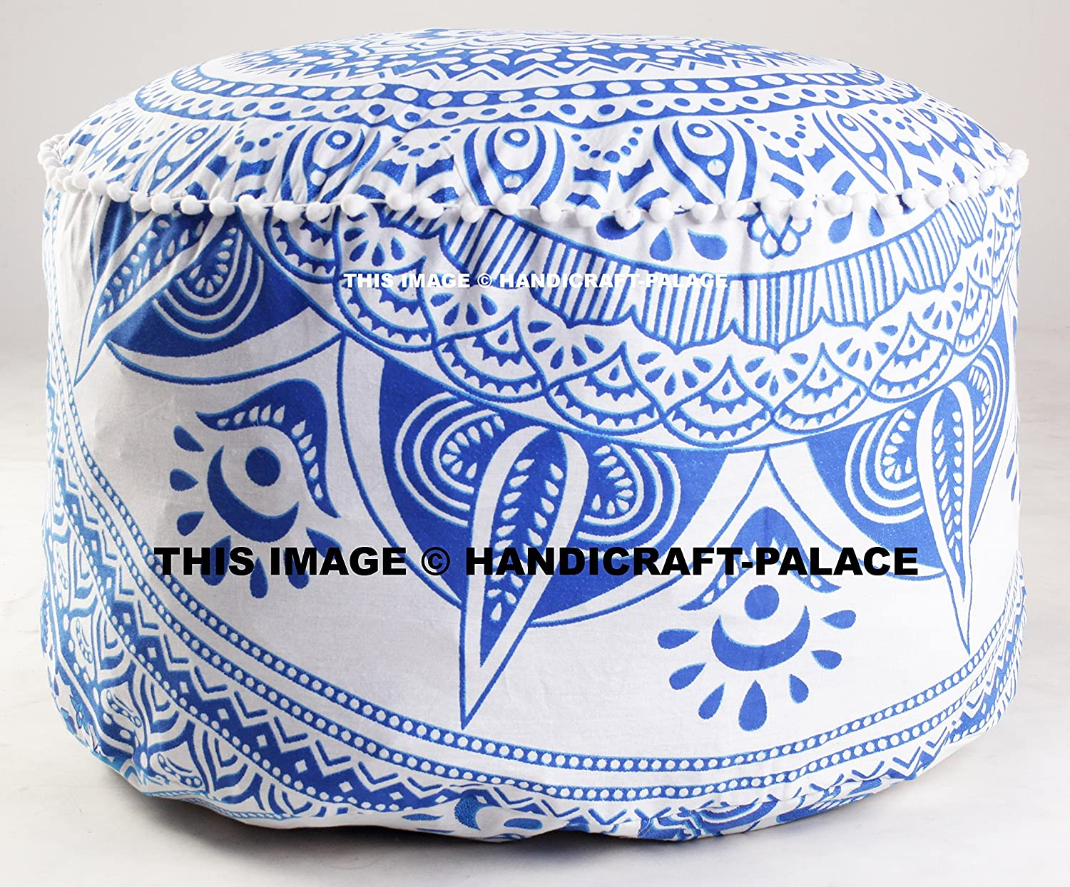 Indian Ethnic Ombre Mandala Ottoman Pouf Cover Seating Furniture Round Footstool ottoman Poufs Size 24 x 14 inches Sold By Handicraft-Palace MOS-20