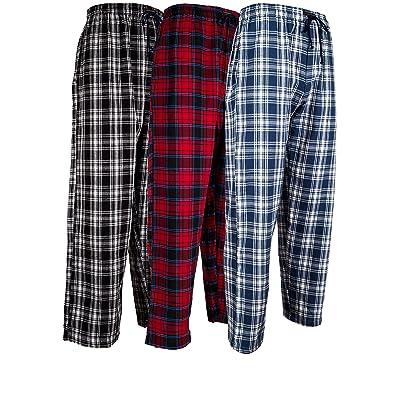 ANDREW SCOTT Men's 3 Pack Cotton Flannel Fleece Brush Pajama Sleep & Lounge Pants: Clothing