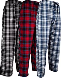 Andrew Scott Men's 3 Pack Cotton Flannel Fleece Brush Pajama Sleep & Lounge Pants