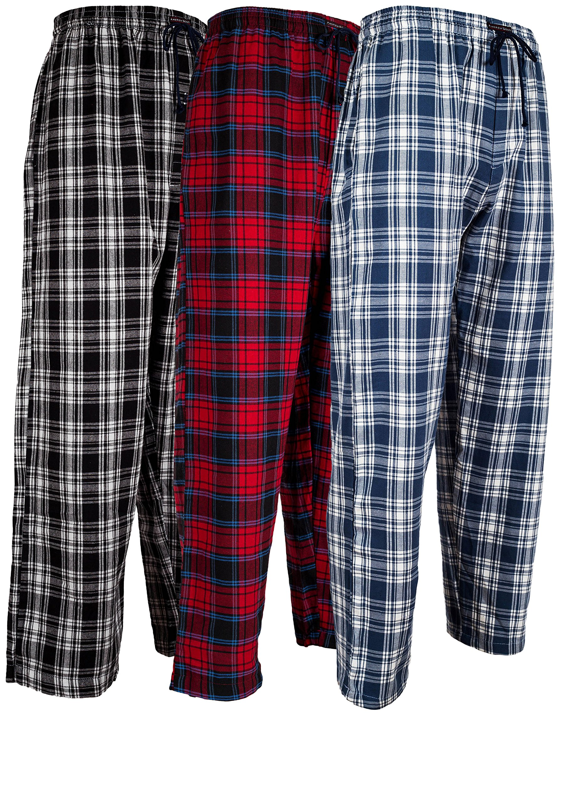 Andrew Scott Men's 3 Pack Cotton Flannel Fleece Brush Pajama Sleep & Lounge Pants (Medium / 32-34, 3 Pack - Classic Flannel Assorted Plaids) by Andrew Scott
