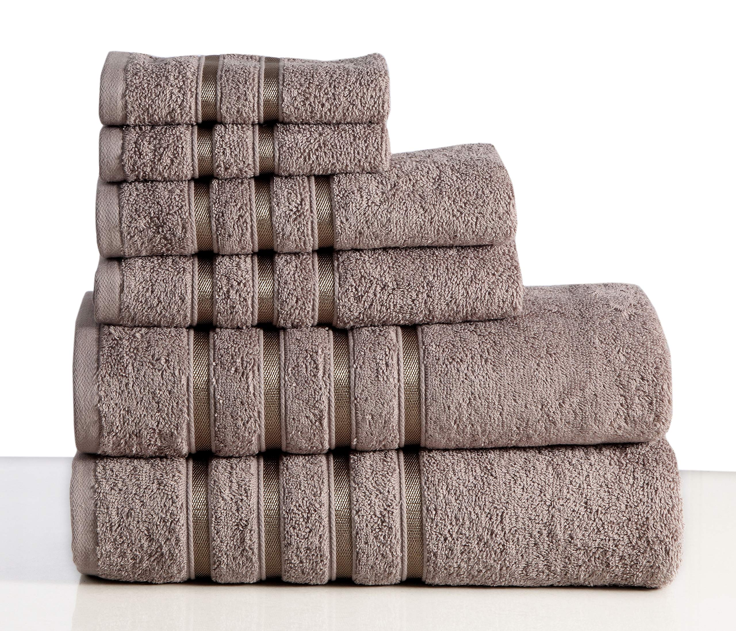 Wicker Park 550 GSM Ultra Soft Luxurious 6-Piece Towel Set (Platinum): 2 Bath Towels, 2 Hand Towels, 2 Washcloths, Long-Staple Combed Cotton, Spa Hotel Quality, Super Absorbent, Machine Washable