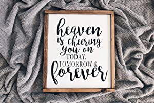 Flowershave357 Heaven is Cheering You On Today Tomorrow and Forever Wood Sign LDS Quotes LDS Decor LDS Gifts Custom Signs LDS Wood Wall Sign Decor