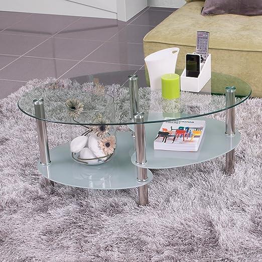 Homely - Mesa de Centro Ainara, con revistero y Tapa de Cristal ...