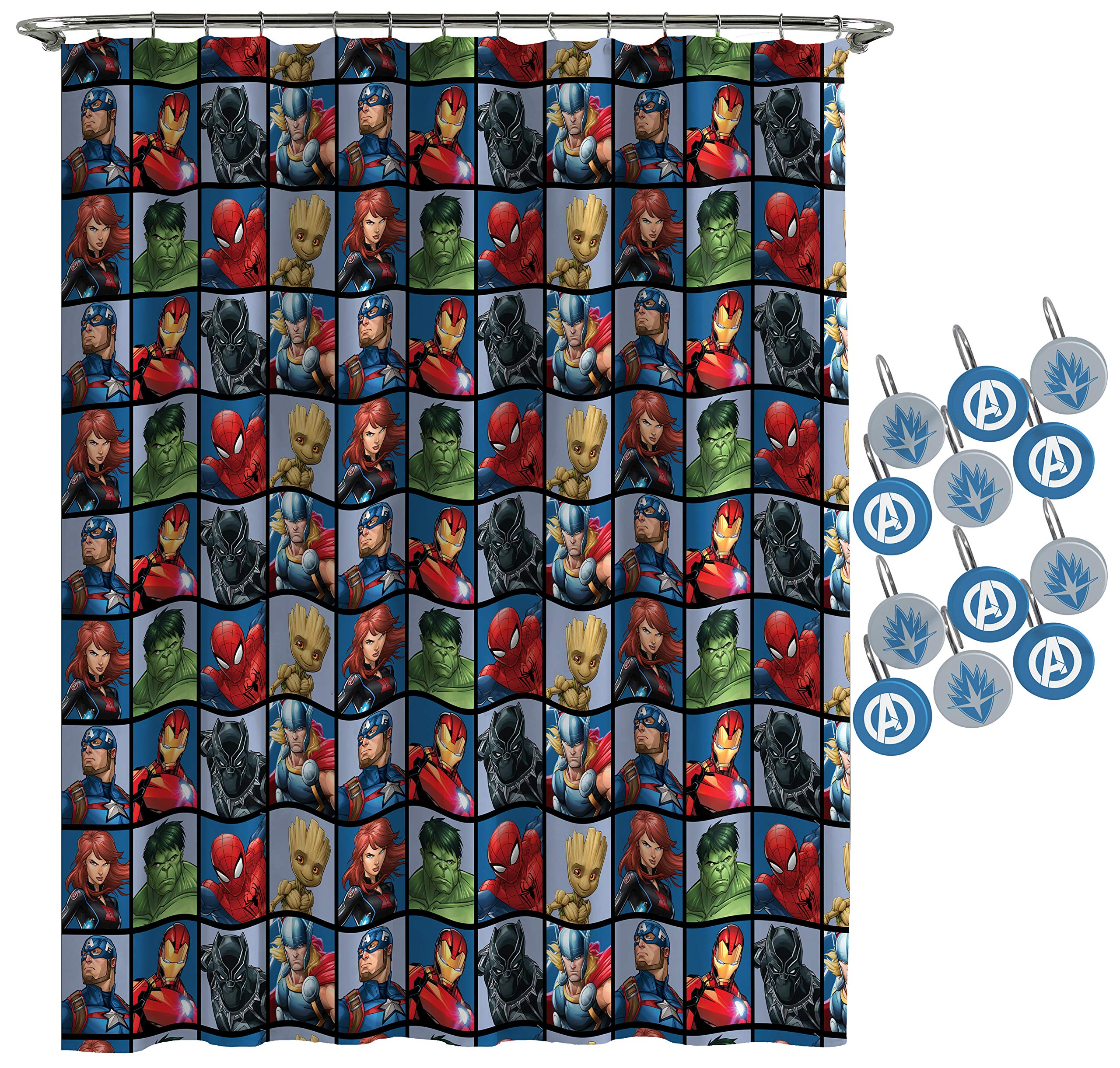 Jay Franco Marvel Avengers Team Shower Curtain & 12-Piece Hook Set & Easy Use (Official Marvel Product) by Jay Franco