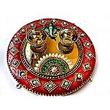 Designer Acrylic Haldi Kumkum Puja Thali Set/Rakhi thali with Ganesha for Festival Rakshabandhan etc(5 inch) (Golden)
