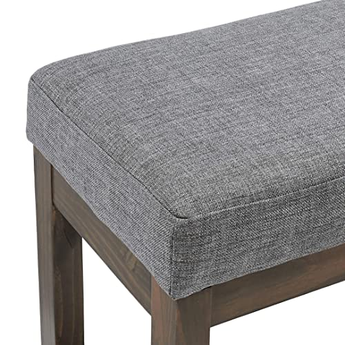 Red Hook Leda Rectangular Ottoman Bench with Fabric Upholstery, Large, Stone Grey