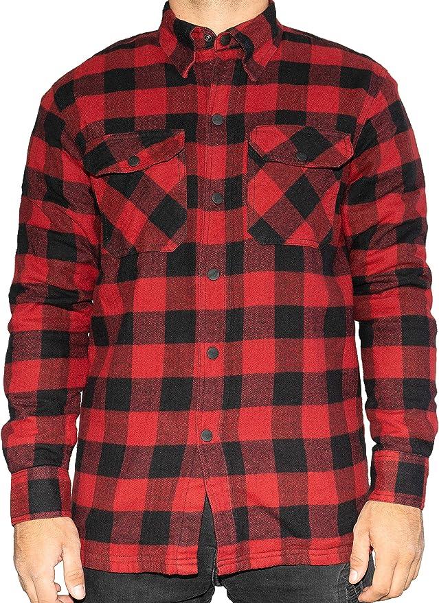 BRUBAKER Camisa de protección para Moto - Forro Interior Aramida y Bolsillos para Protectores - Estilo Lumberjack - Cuadros Rojo-Negro: Amazon.es: Ropa y accesorios