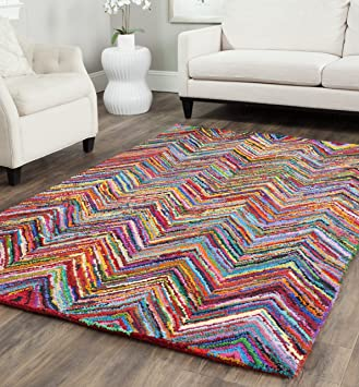 Amazon Com Safavieh Nantucket Collection Nan141a Handmade Modern Abstract Chevron Cotton Area Rug 3 X 5 Pink Multi Furniture Decor