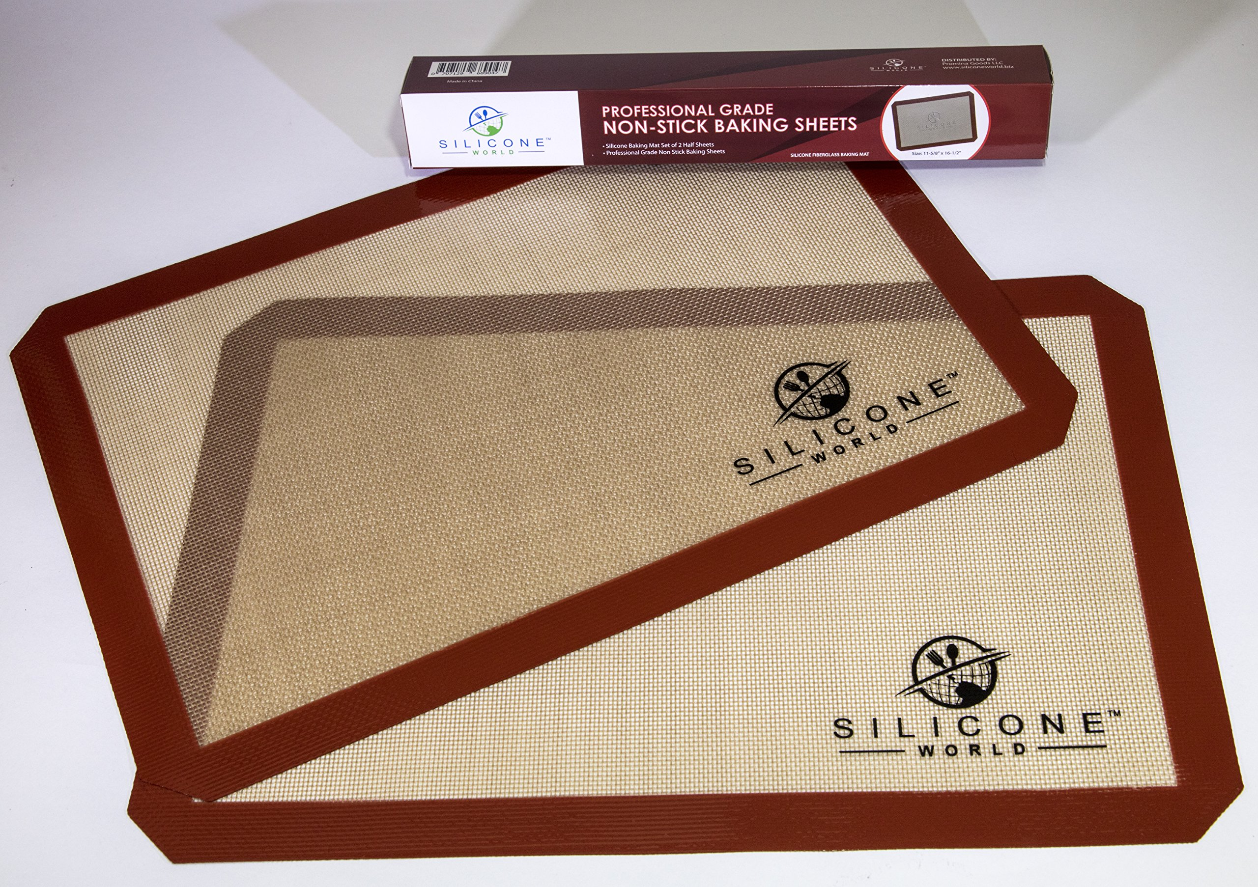 Silicone World - Professional Grade Silicone Baking Mat - Incredible Reusable 2-Pack, Durable, Non-stick Fiberglass 11-5/8 x 6-1/2 Oven Sheets, Eco-friendly, Non-toxic and BPA-free