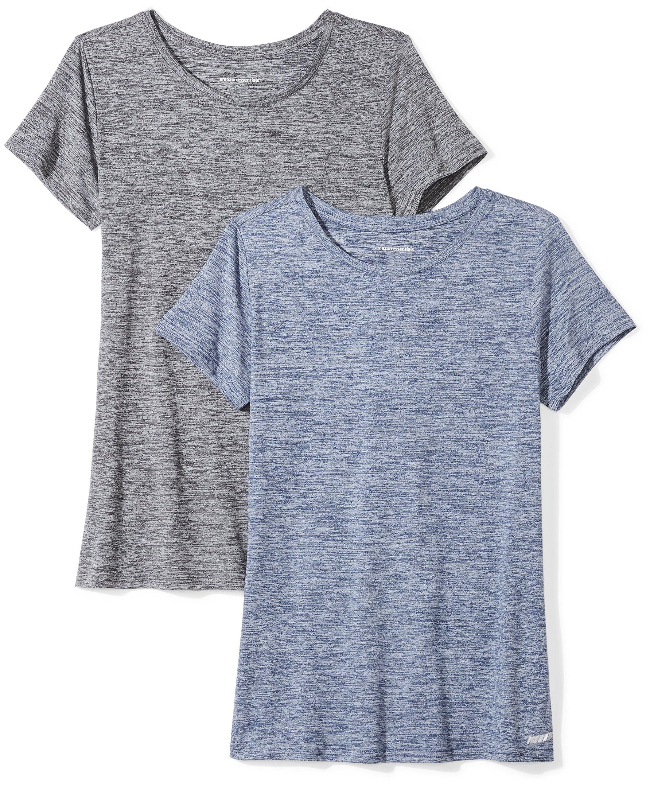Amazon Essentials Women's 2-Pack Tech Stretch Short-Sleeve Crewneck T-Shirt Shirt, Black Heather/Navy Heather, XX-Large