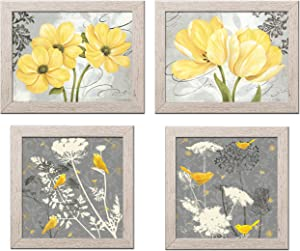 Gango Home Decor Beautiful Grey & Yellow Poster Set; Birds and Flowers; Two 12x12in and Two 14x11in Distressed Framed Prints