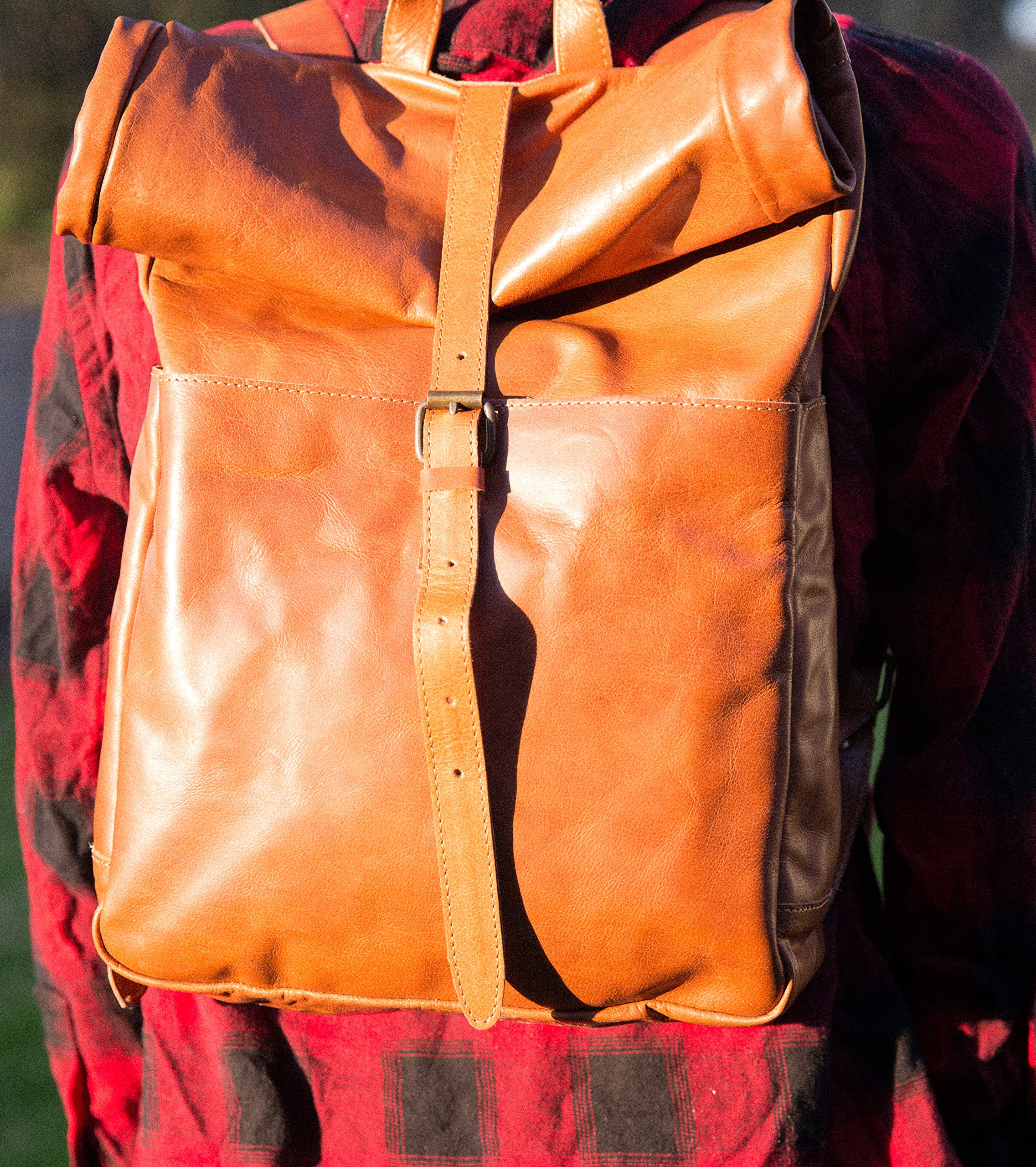 Leather Rolltop Backpack, Vintage Style Bag, Leather Rucksack Travel Backpack by Huxtan (Image #4)