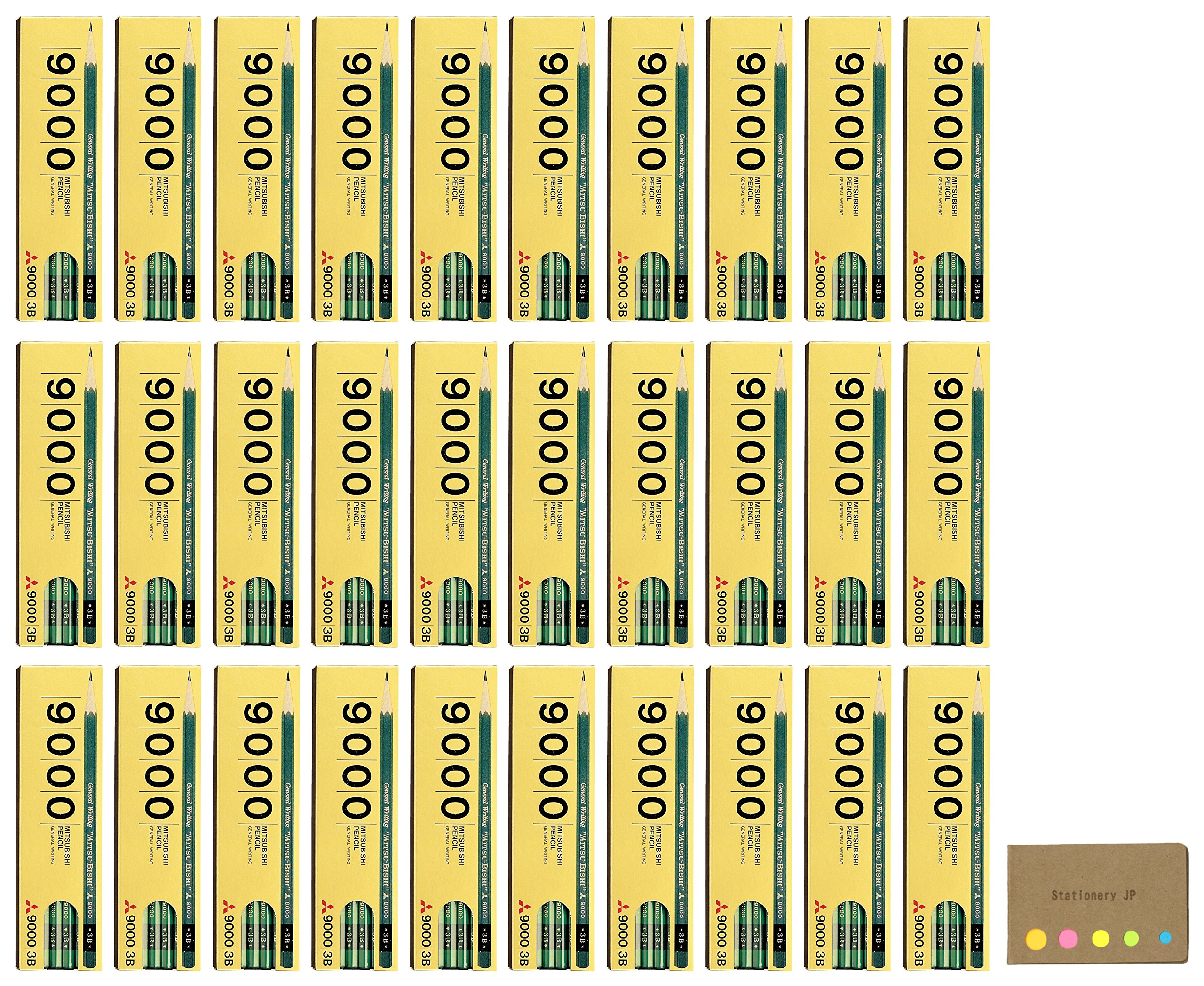 Uni Mitsubishi 9000 Pencil, 3B, 30-pack/total 360 pcs, Sticky Notes Value Set by Stationery JP (Image #1)