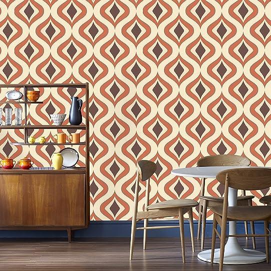 Super Fresco Papier Peint Motif Trippy Choc/Orange 15195 Facile À