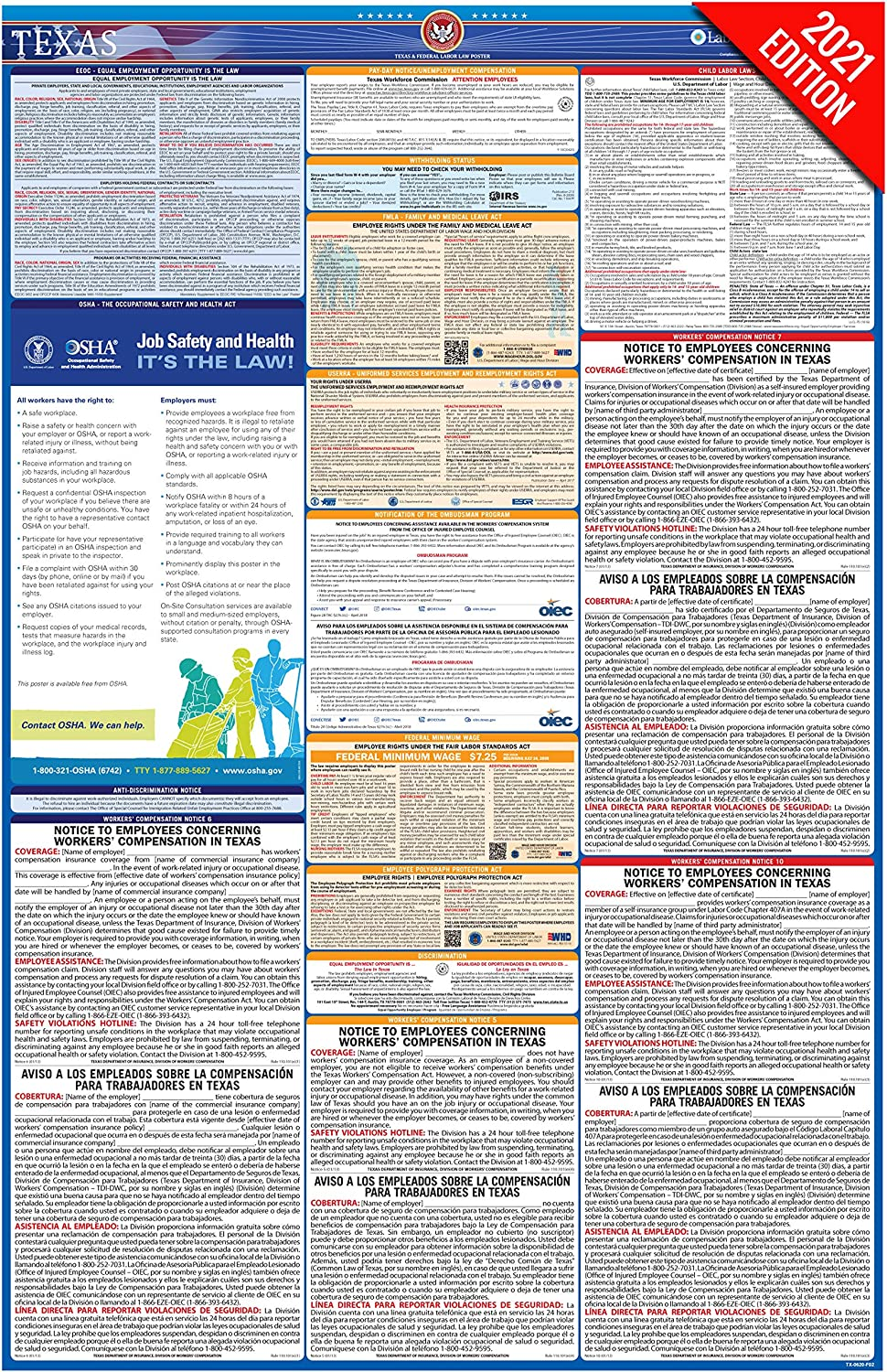 TX Labor Law Poster, 2021 Edition - State, Federal and OSHA Compliant Laminated Poster (Texas, English)