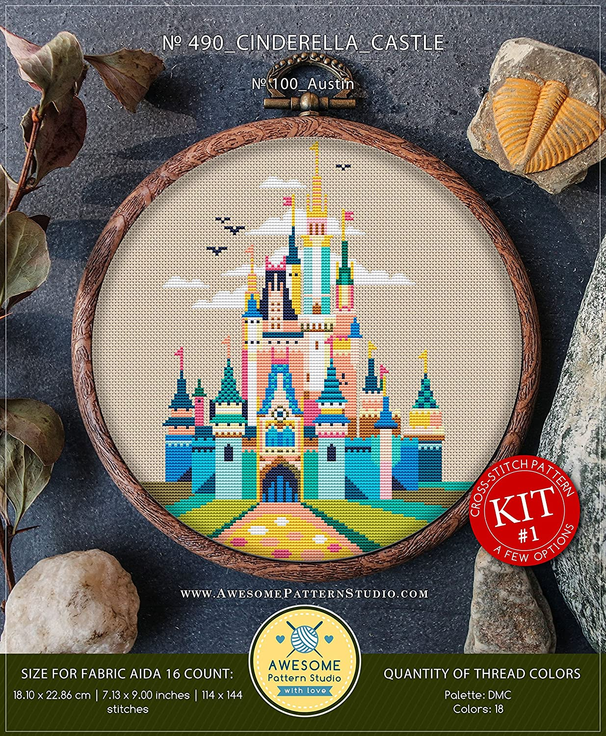Cinderella Castle #K490 Embroidery Kit | Disney Stitching | Cross Stitch World | Needlepoint Kits | Cross Stitch Embroidery | Embroidery Stitches Awesome Pattern Studio