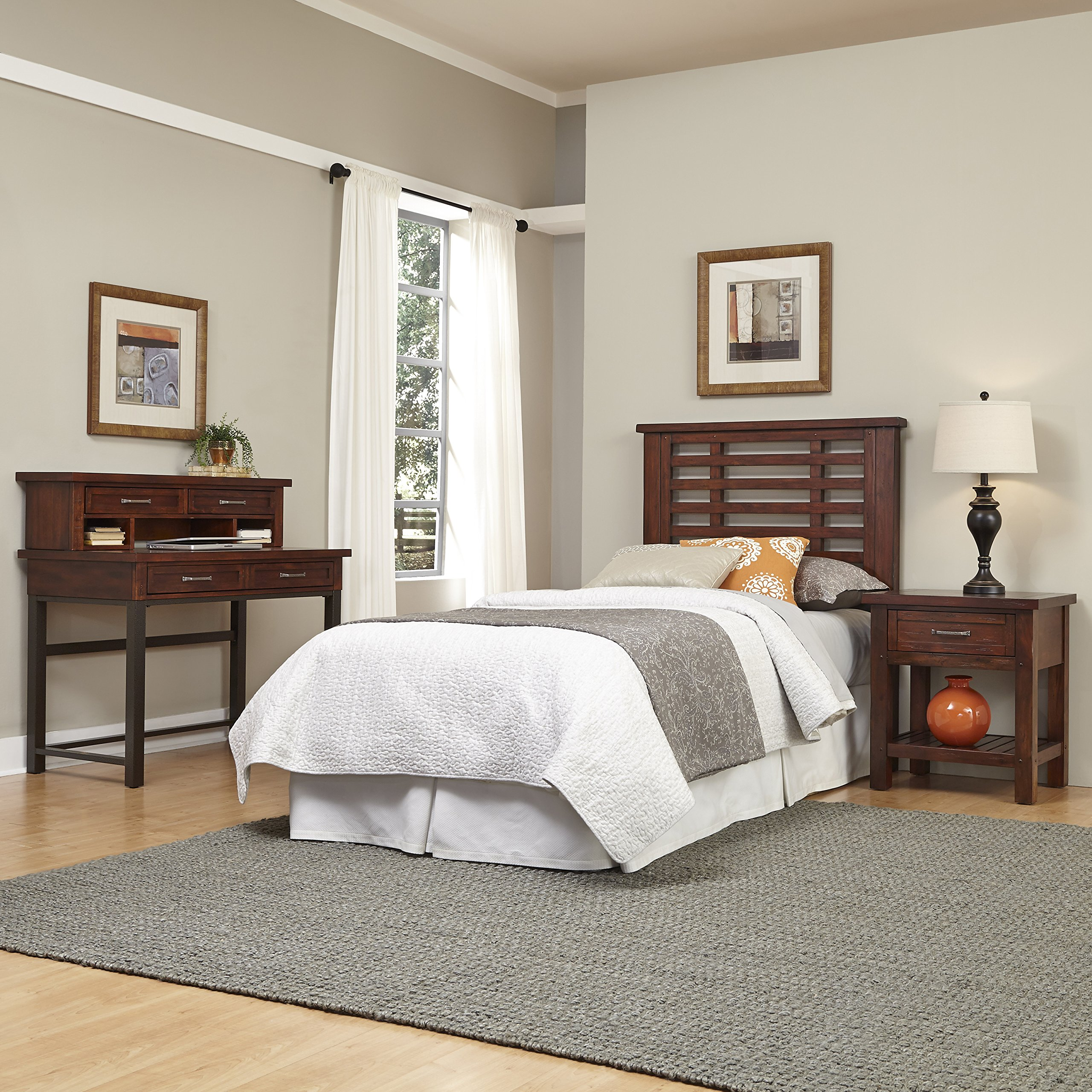 Home Styles 5410-4018 Cabin Creek Chestnut Finish Headboard, Night Stand & Student Desk with Hutch, Twin