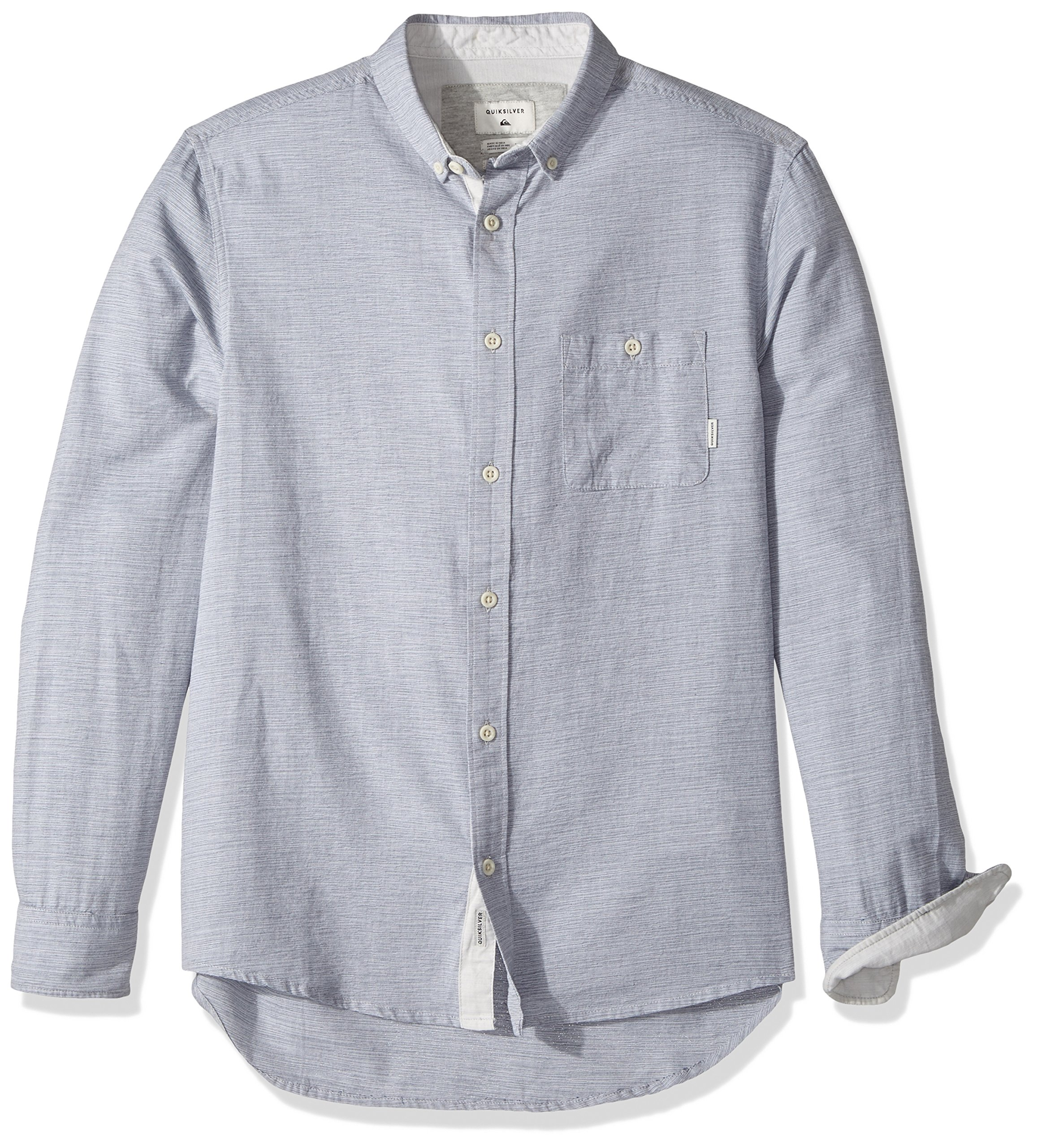Quiksilver Men's Waterfalls Long Sleeve Shirt, Dark Denim, Large