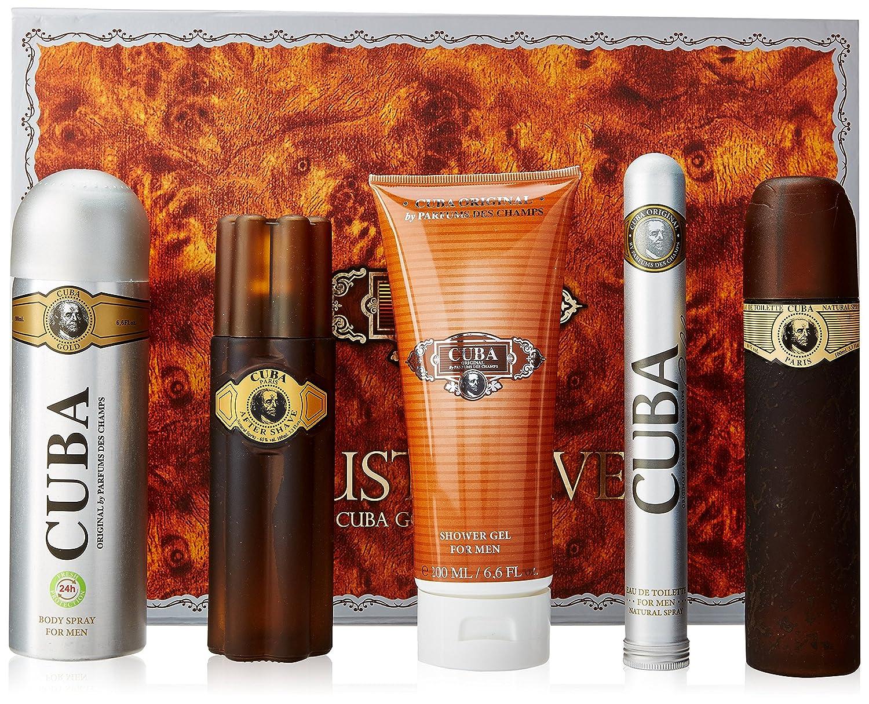 Champs Cuba Gold for Men Gift Set (Eau De Toilette Spray 3.3-Ounce/Eau De Toilette Spray 1.17-Ounce/After Shave/Deodorant Spray/Shower Gel) PC228