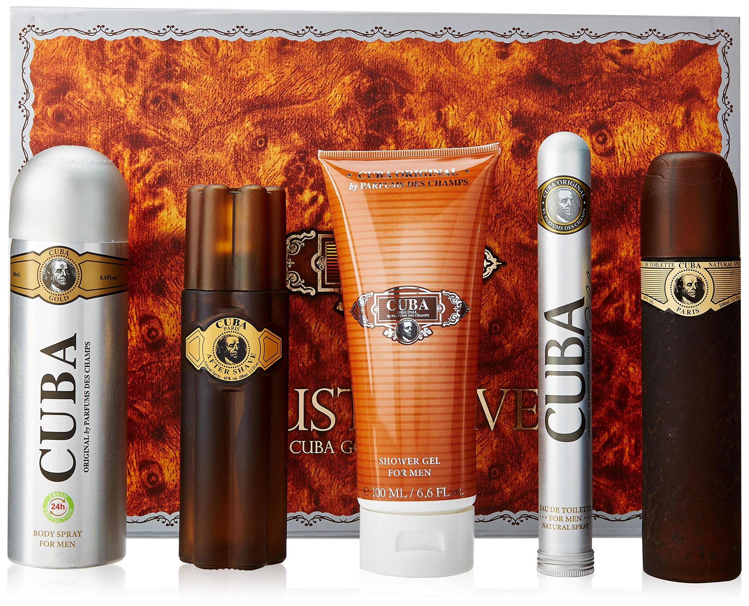 Cuba Gold for Men Gift Set (Eau de Toilette Spray 3.3 Ounce, Eau de Toilette Spray 1.17 Ounce, After Shave, Deodorant Spray, Shower Gel) by Cuba