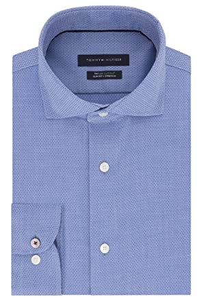 1b3695bd Tommy Hilfiger Men's Non Iron Slim Fit Stripe Spread Collar Dress Shirt at Amazon  Men's Clothing store: