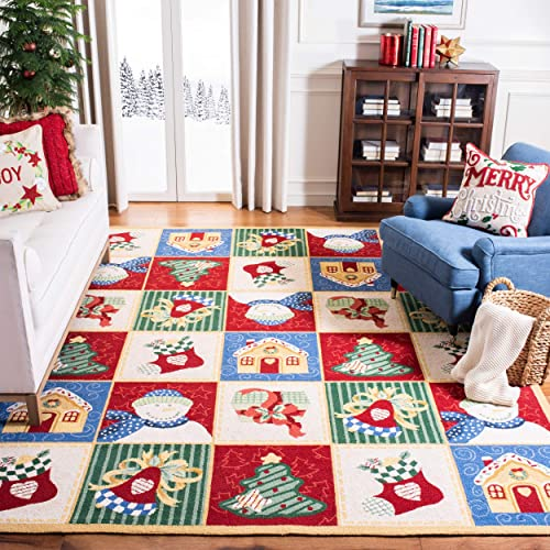 Safavieh Chelsea Collection HK274A Hand-Hooked White and Multi Premium Wool Area Rug 7 9 x 9 9