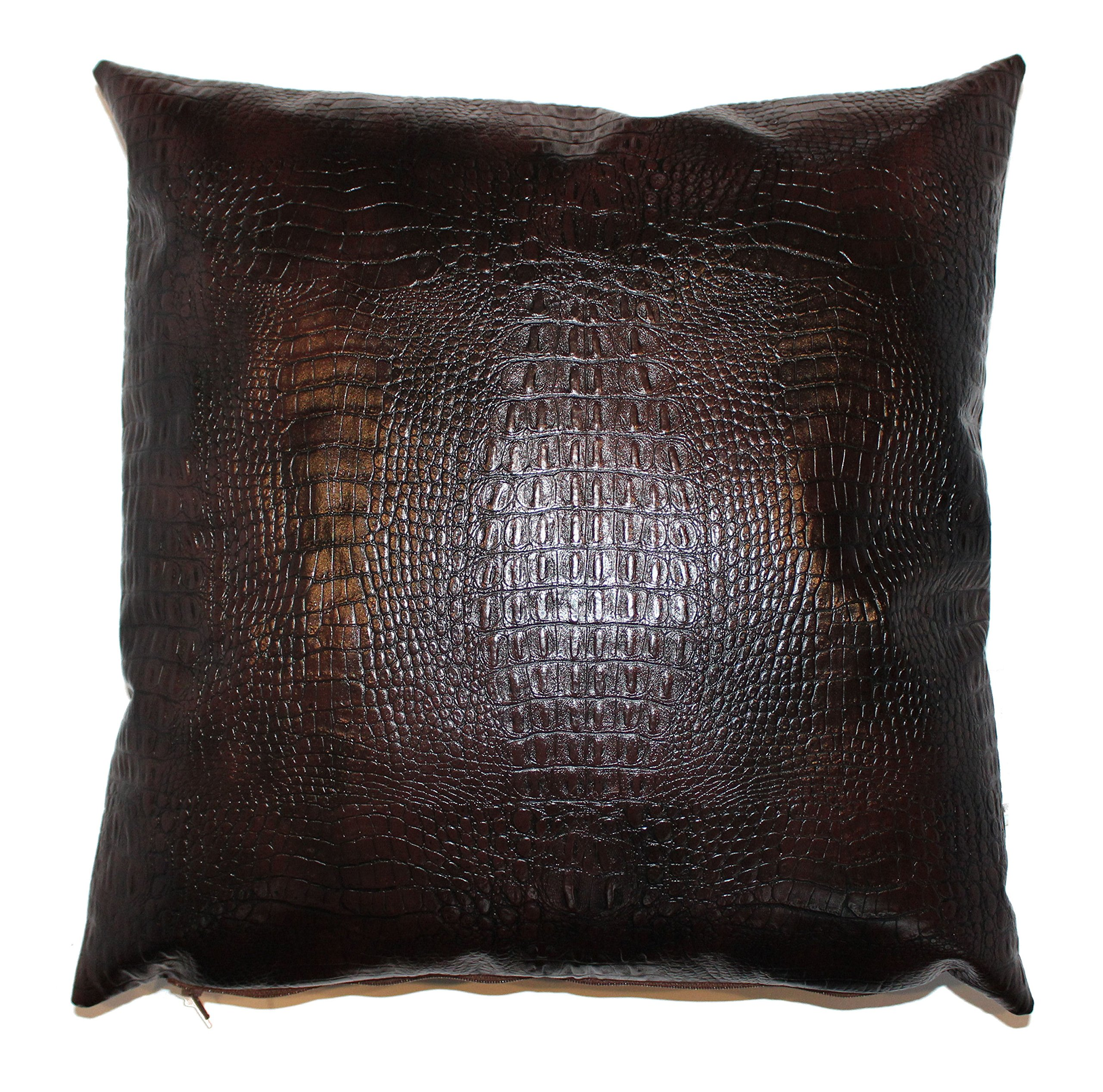 Alligator Faux Leather Throw Pillow Cover Wood 18x18 in 1pc