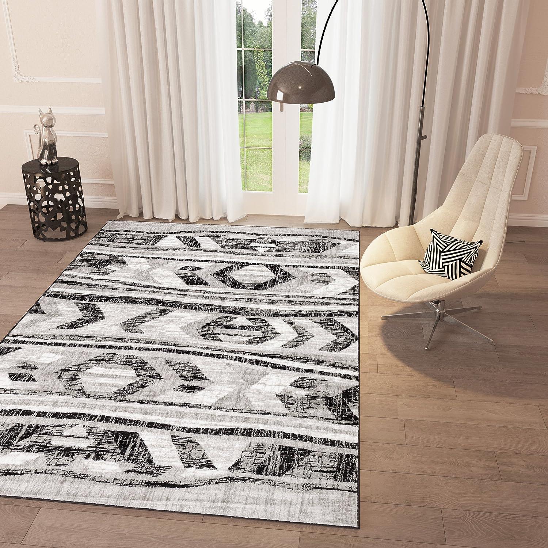 Amazon Com Black And White Grey Distressed Tribal Print Area Rug 2