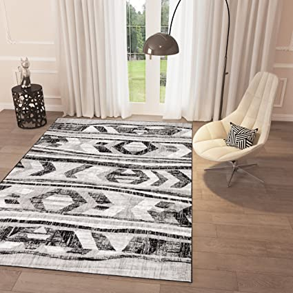 Amazoncom Black And White Grey Distressed Tribal Print Area Rug 2