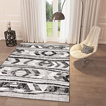 Attractive Amazon.com: Black and White Grey Distressed Tribal Print Area Rug  ZN53