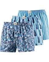 Jockey 3-Pack Woven Men's Boxer Shorts, Floral/Pineapples/Stripes in Blue