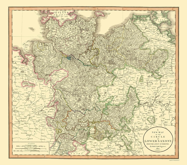 Lower Saxony Germany Map.Amazon Com Old Germany Map Lower Saxony Cary 1835 23 X 26 05
