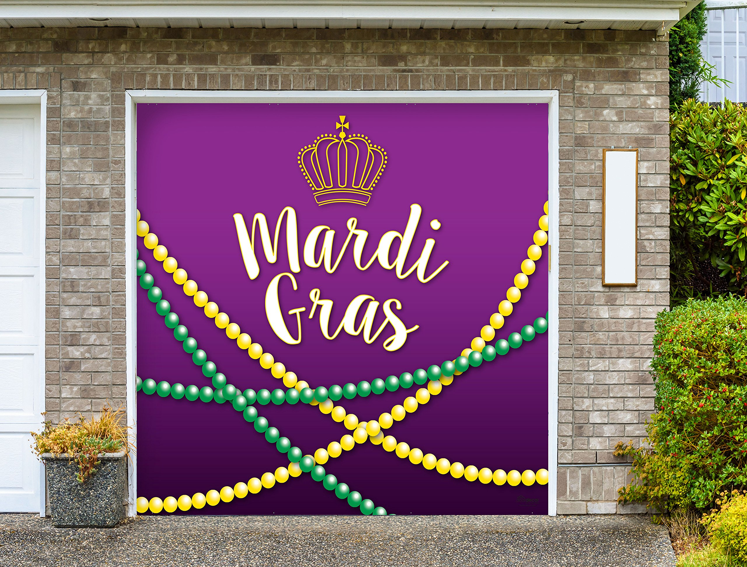 Outdoor Mardi Gras Decorations Garage Door Banner Cover Mural Décoration 8'x8' - Mardi Gras Beads - ''The Original Mardi Gras Supplies Holiday Garage Door Banner Decor'' by Victory Corps