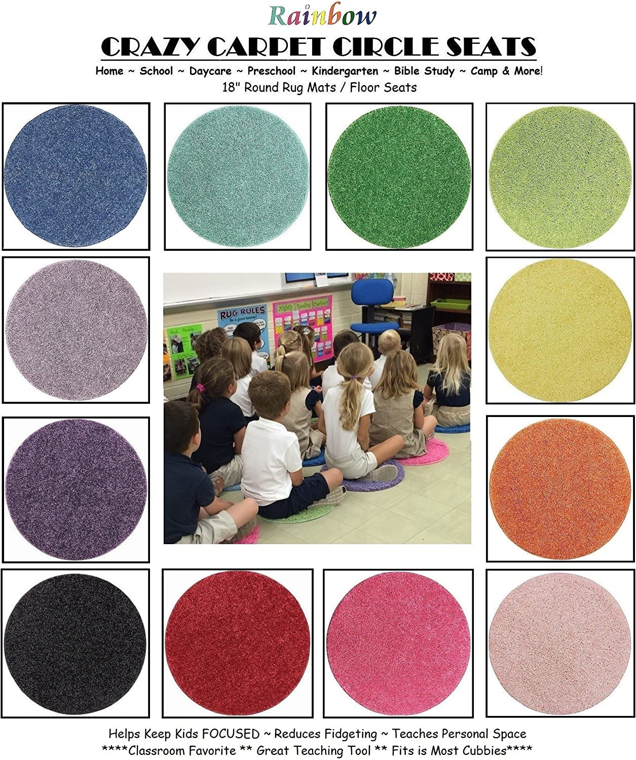 24 Rainbow Kids Crazy Carpet Circle Seats 18 Round Soft Warm Floor Mat - Cushions | Classroom, Story Time, Group Activity, Time-Out Spot Marker and Fun. Home Bedroom & Play Areas A15eWlhvChLSL1500_