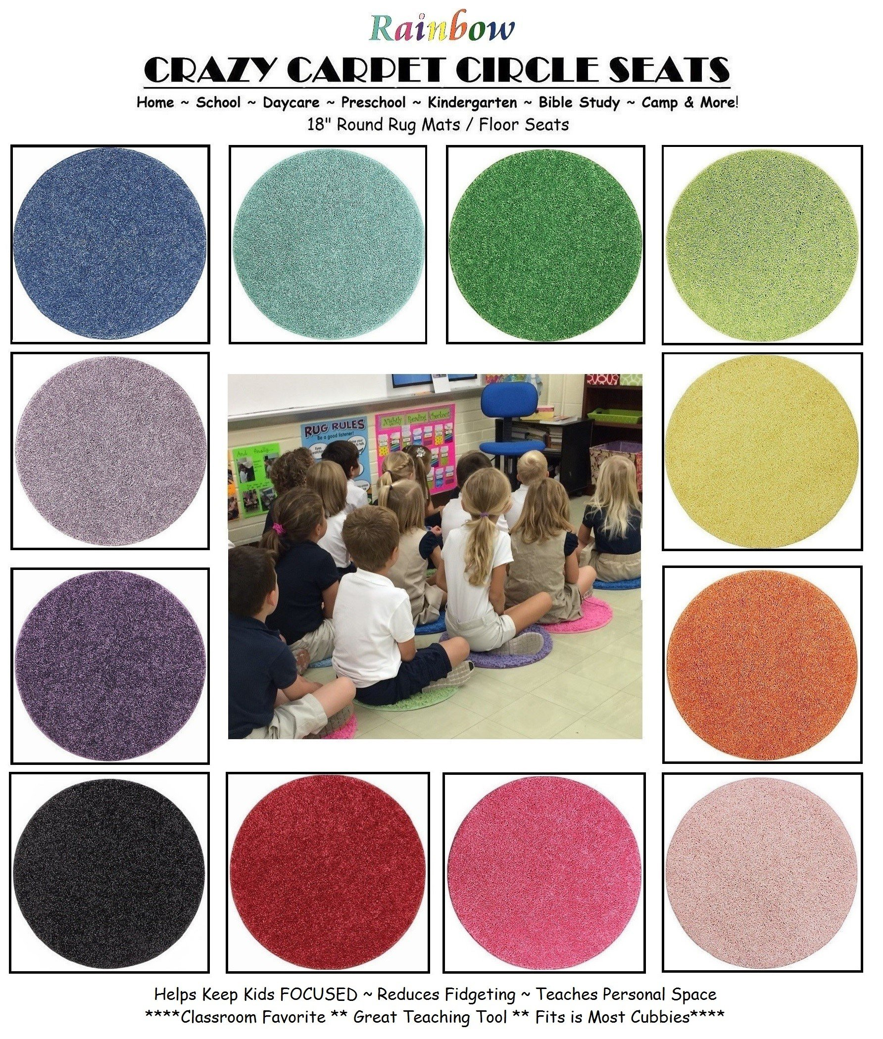 24 Rainbow Kids Crazy Carpet Circle Seats 18'' Round Soft Warm Floor Mat - Cushions   Classroom, Story Time, Group Activity, Time-Out Spot Marker and Fun. Home Bedroom & Play Areas by Children's Choice