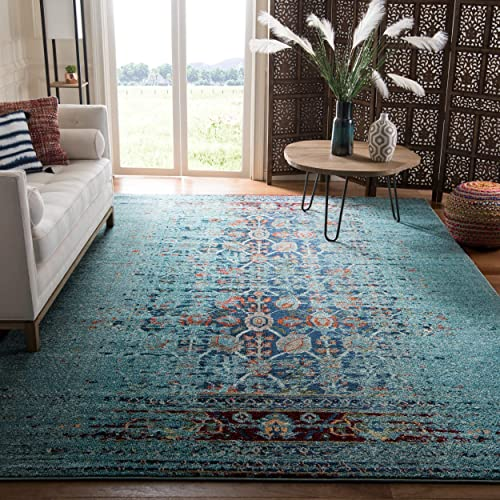 Safavieh Monaco Collection MNC208J Modern Abstract Erased Weave Blue and Multi Distressed Area Rug 9 x 12