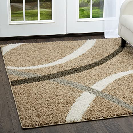 Shag Area Rug Home Dynamix and Nicole Miller/'s Synergy Quill Cozy Area Rug| Contemporary Style 20x31 Cozy Area Rug| Contemporary Style 20x31 S1000-198 Plush Soft Beige and White| Durable